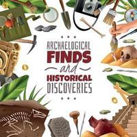 découvertes historiques archéologie frame vector illustration