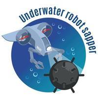 Robot sous-marin sapeur fond rond vector illustration