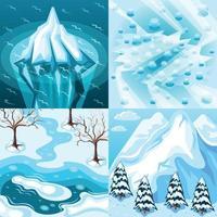 L'aménagement paysager d'hiver concept design isométrique vector illustration