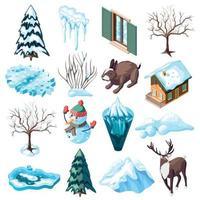 aménagement paysager d'hiver icônes isométriques vector illustration