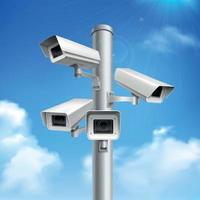 caméras de sécurité composition réaliste illustration vectorielle vecteur