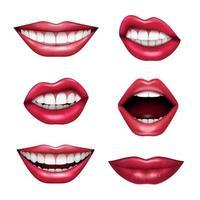 expressions de la bouche réaliste set vector illustration