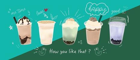 conception de promotions spéciales de thé au lait à bulles, thé au lait boba, thé au lait perlé, boissons délicieuses, cafés et boissons gazeuses avec logo et bannière publicitaire mignonne de style doodle drôle. illustration vectorielle. vecteur
