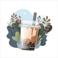 conception de promotions spéciales de thé au lait à bulles, thé au lait boba, thé au lait perlé, boissons délicieuses, cafés et boissons gazeuses avec logo et bannière publicitaire de style doodle. illustration vectorielle. vecteur