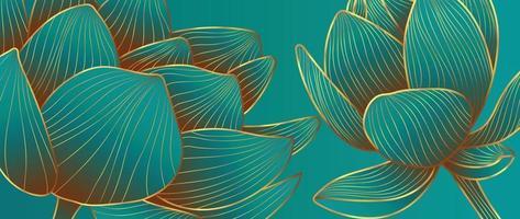 vecteur de fond de lotus d'or de luxe. collection de papiers peints zen avec dessin au trait lotus doré. conception pour bannière de yoga, conception de couverture de luxe et invitation, invitation, bannière, conception d'emballage de produit naturel.