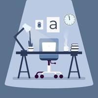 lieu de travail de designer moderne avec ordinateur portable sur la table. design plat de concept de lieu de travail. vecteur