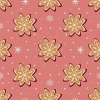 Modèle vectoriel continu de biscuits de pain d'épice traditionnels de différentes formes pour la célébration de Noël au milieu des flocons de neige sur fond violet