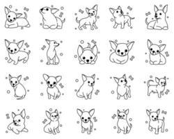 Jeu d'icônes d'illustration vectorielle de dessin animé mignon de chiens chiot chihuahua. c'est le style de contour. vecteur