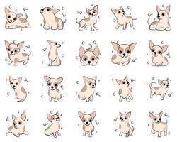 Jeu d'icônes d'illustration vectorielle de dessin animé mignon de chiens chiot chihuahua. c'est un design plat. vecteur
