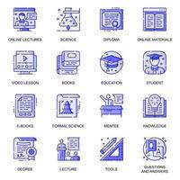 jeu d'icônes de ligne plate web d'éducation vecteur