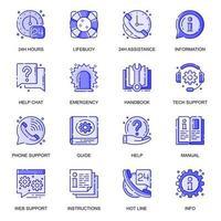 aider et soutenir le jeu d'icônes de ligne plate web vecteur