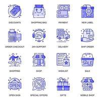 jeu d'icônes de ligne plate web e-commerce vecteur