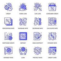 jeu d'icônes de ligne plate web de crédit et de prêt vecteur