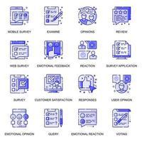 ensemble d'icônes de ligne plate web enquête vecteur