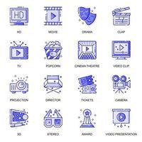 jeu d'icônes de ligne plate de cinéma web vecteur