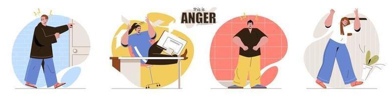 c'est un ensemble de scènes de concept de colère vecteur