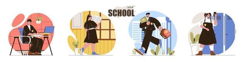 votre ensemble de scènes de concept d'école vecteur