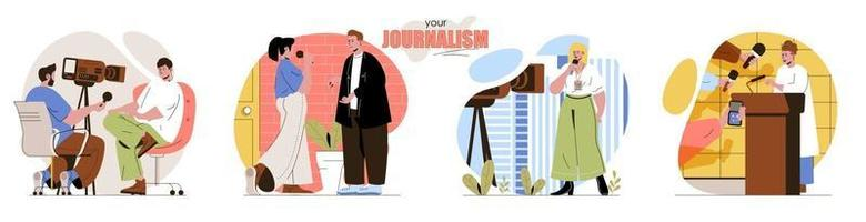 votre ensemble de scènes de concept de journalisme vecteur