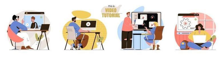 il s'agit d'un ensemble de scènes conceptuelles de didacticiel vidéo vecteur