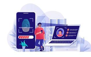 concept de contrôle d'accès biométrique au design plat vecteur