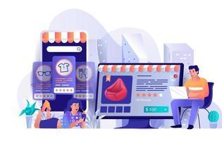 concept de commerce électronique au design plat vecteur