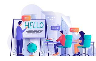 concept de cours de langue au design plat vecteur