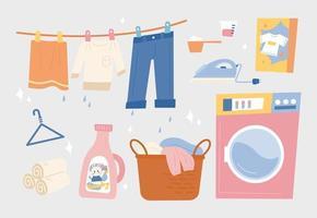 Buanderie. machine à laver et détergent à lessive et linge suspendu en ligne. illustration vectorielle minimale de style design plat. vecteur