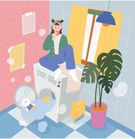 Buanderie. une fille est assise sur une machine à laver débordant d'eau et mange une pizza. illustration vectorielle minimale de style design plat. vecteur