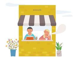 deux couples lisent un livre et boivent du café dans un petit café. illustrations de conception vectorielle. vecteur