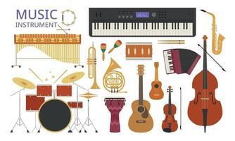 une collection d'instruments divers. illustrations de conception vectorielle. vecteur