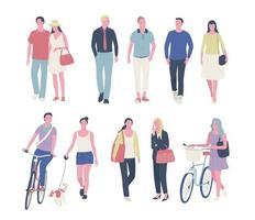 diverses personnes dans la rue. vue de face. illustrations de conception vectorielle. vecteur