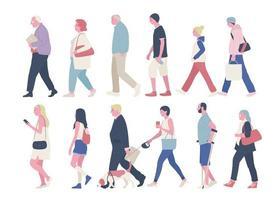 vue latérale de diverses personnes dans la rue. illustrations de conception vectorielle. vecteur