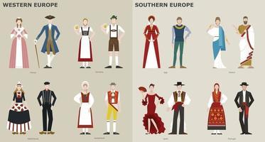 une collection de costumes traditionnels par pays. L'Europe . illustrations de conception vectorielle. vecteur