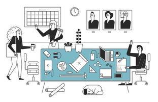 les collègues du bureau disent bonjour. intérieur de bureau dans un intérieur complexe. illustrations de conception vectorielle. vecteur