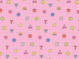 icônes de jeu mignonnes disposées sur une grille rose. modèle de conception de modèle simple. vecteur