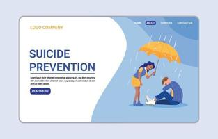 modèle de page de destination pour la prévention du suicide vecteur