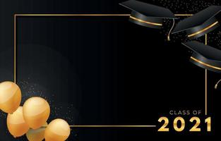 cadre de remise des diplômes avec ballon et casquette académique carrée vecteur