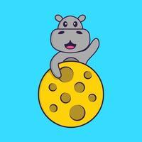 l'hippopotame mignon est sur la lune. concept de dessin animé animal isolé. peut être utilisé pour un t-shirt, une carte de voeux, une carte d'invitation ou une mascotte. style cartoon plat vecteur