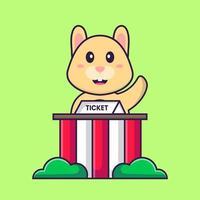 le lapin mignon est un gardien de billets. concept de dessin animé animal isolé. peut être utilisé pour un t-shirt, une carte de voeux, une carte d'invitation ou une mascotte. style cartoon plat vecteur
