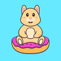 lapin mignon est assis sur des beignets. concept de dessin animé animal isolé. peut être utilisé pour un t-shirt, une carte de voeux, une carte d'invitation ou une mascotte. style cartoon plat vecteur