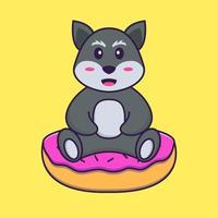 le renard mignon est assis sur des beignets. concept de dessin animé animal isolé. peut être utilisé pour un t-shirt, une carte de voeux, une carte d'invitation ou une mascotte. style cartoon plat vecteur