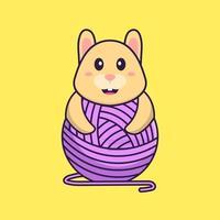 lapin mignon jouant avec du fil de laine. concept de dessin animé animal isolé. peut être utilisé pour un t-shirt, une carte de voeux, une carte d'invitation ou une mascotte. style cartoon plat vecteur