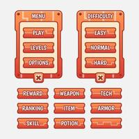 kit d'interface graphique de modèle de jeu vectoriel. éléments à plusieurs étages de sélection de niveau d'interface vecteur