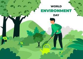 il est diligent à planter des arbres pour garder le monde vert. en cette journée mondiale de l'environnement vecteur