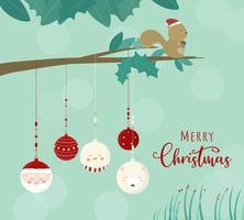 joyeux noël avec des écureuils sur l'arbre et des boules suspendues aux branches. vecteur