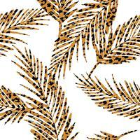 Modèle exotique sans soudure avec des feuilles de palmier et un motif animal. vecteur