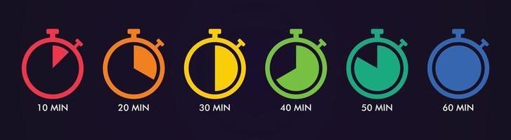 ensemble de logos de chronomètre, vecteur de chronomètre