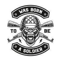 une illustration vectorielle d'un t-shirt de soldat gorille. vecteur