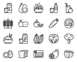 icône et symbole de contour d'aliments sains pour le site Web, application vecteur