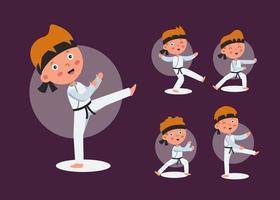 ensemble d'homme athlète de taekwondo en personnage de dessin animé différentes actions vector illustration